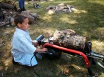 MNAngler, Jr running the log splitter